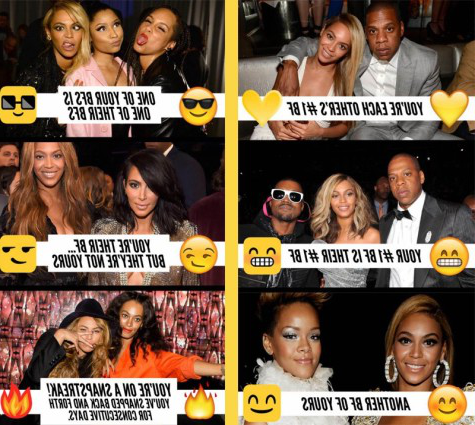 Snapchat showed examples of the meanings of the emojis with photos of Beyonce.