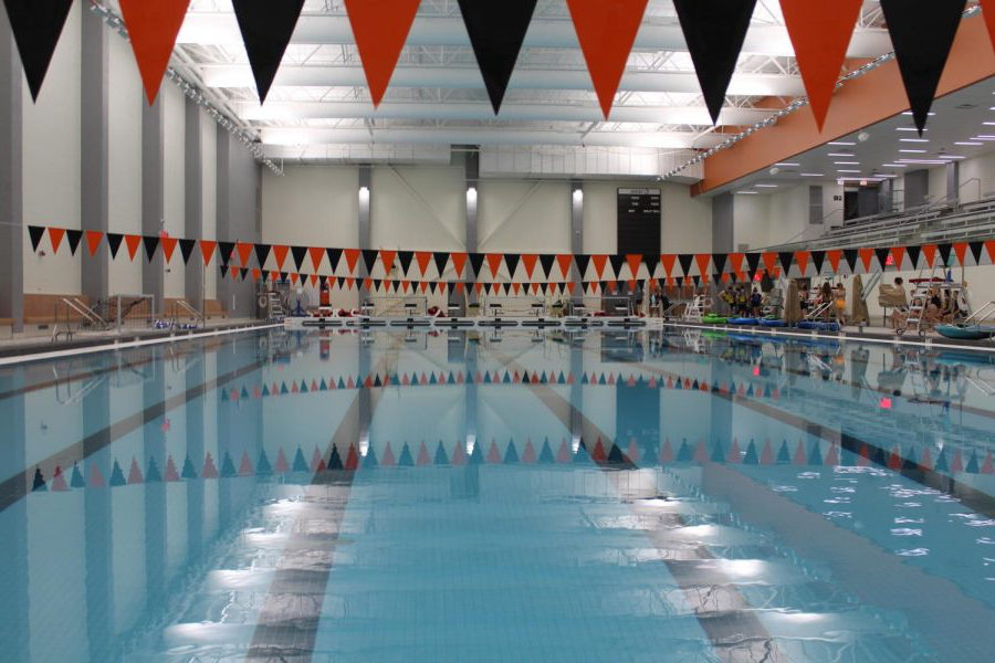 Three+black+and+orange+banners+span+the+eight+lanes+那+the+new+pool+boasts.+